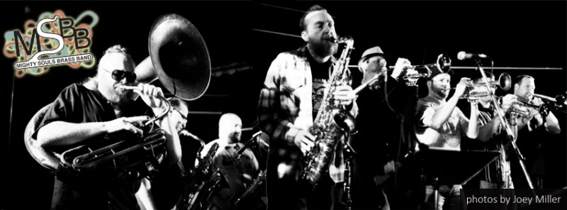 Murphy, left, and his Mighty Souls Brass Band. Photo by Joey Miller with layout by Emily Vangilder
